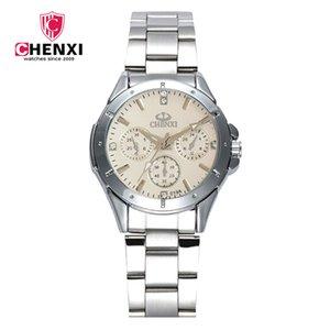 Relógio de pulso feminino estilo coreano assista mulheres de pulso aço senhoras relógio de quartzo relógio chenxi marca relógios 019a