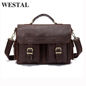 Al por mayor-WESTAL Men Bag Maletín de cuero genuino Hombre de negocios Laptop Bag Man Crossbody Bolso de hombro Real Leather Men Bags 8408