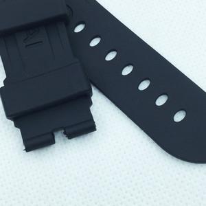 24mm 115mm / 75mm mode schwarz silikonkautschuk wasserdicht pam band strap für pam lunminor radiomir uhr