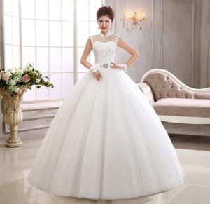 높은 목 볼 가운 웨딩 드레스 레이스 Appiques 2019와 함께 빈티지 웨딩 드레스는 신부 가운 레이스