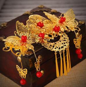 Venta al por mayor tocado rojo novia traje antiguo peine borla accesorios para el cabello matrimonio chino GZ05