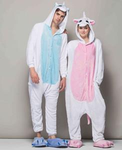 Karikatür Uyku giysileri pijama setleri Yetişkinler kadınlar için Unicorn flanel Onesies caroset pijama Loungewear hayvan pijama yetişkin HML-003