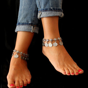 Gypsy argento antico moneta turca cavigliera braccialetto piede spiaggia gioielli cavigliera indiana per le donne etniche Festival tribale