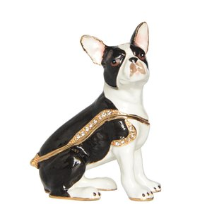 Pewter Esmaltado Boston Terrier Dog Trinket Jewelry Box Collection regalo regalos de la estatuilla del perro
