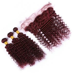Вино Красное Malayian глубокая волна Девы волос соткет с кружевом фронтальной уха до уха закрытие с пучки 99J Бургундия вьющиеся наращивание волос