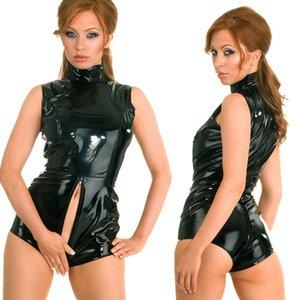 Venta al por mayor-S-XXL Nueva Sexy Faux Leather PVC Look con traje de cremallera con cremallera Bondage Body Fetish Clubwears Plus Size