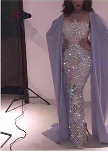 2017 Sexy Sereia Full beading Custom Made Longo Prom Africano Figura Cheia Celebridade Vestidos de Noite