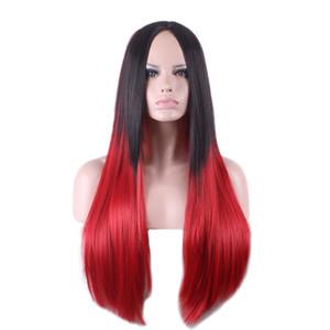 WoodFestival gri ombre peruk kadınlar uzun düz peruk siyah kırmızı sentetik saç peruk cosplay yüksek sıcaklık ipek moda fiber saç