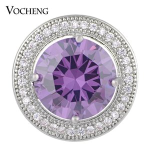 VOCHENG NOOSA 18mm Luxury CZ Stone Round Snap Button Brass Material 4 Colors Glam Interchangeable Jewelry Vn-1275