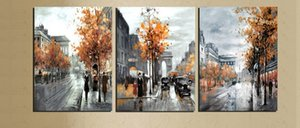 3 Piece Abstract Painting Canvas Vintage Europe City Street Landscape Decor Pictures Home Decoration Printed Gray Art No Frame