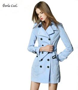 Dorla прохладный ретро Женские пальто 2017 весна британский классический дизайн Женская верхняя одежда середины длинные женские пальто ветровка пояс