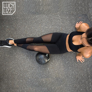 Sexy Mesh Patchwork Sport Leggings Frauen Fitness Kleidung Schwarz Gym Hosen Sportbekleidung Yoga Hosen Outfits Laufhose