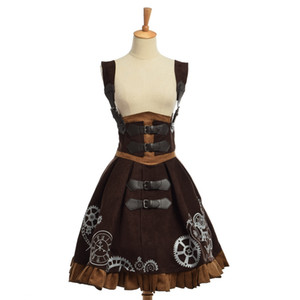 Élégant Gothique SteampunK Lolita JSK Robe Vintage Bleu Marron Femmes Brodé Corset Robes Haute Qualité Nouveau