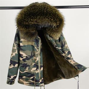 Женская зимняя теплая реальная енот меховой воротник с капюшоном из искусственного меха лайнера утолщение камуфляж военной печати короткий парок пальто плюс размер casacos