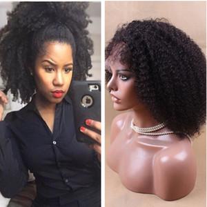 Afro Crépus Dentelle Avant de Perruques de Cheveux Humains Malaisiens Vierge de Cheveux Humains Full Lace Wig Bob Bob Cheveux Humains Dentelle Perruques Pour Les Femmes Noires