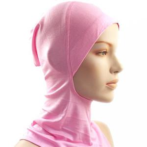 Al por mayor-Bajo Bufanda Sombrero Cap Bone Bonnet Hijab Islámica Head Wear Neck Cover Musulmán