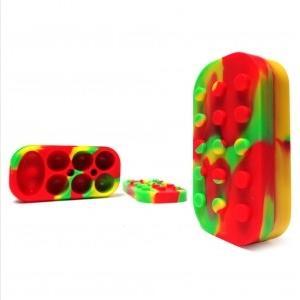 다채로운 실리콘 컨센트레이트 컨테이너 비 스틱 대형 슬릭 오일 왁스 항아리 DAB 6 + 1 7 1 솔리드 실리콘 컨테이너 WAX 컨테이너