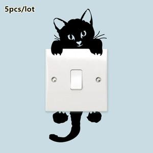 [1 Lot = 5pcs] 검은 고양이 벽 스티커, 재미 있은 귀여운 키티 평면 만화 스위치 스티커, 뜨거운 어린이 홈 장식 Decals Wallsticker