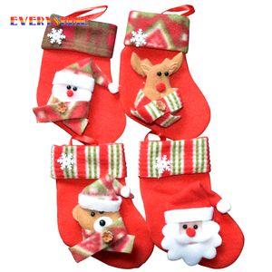 6pcs  Lot Santa Claus Snowman Deer Christmas Stockings Christmas Tree Ornaments Decorations Xmas Festival Gift Holders Bags Sd25