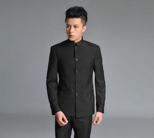 Wholesale- Men's suits Zhongshan suit suits Korean business casual wedding dress embroidered dragon