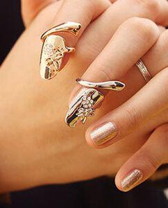 Стрекоза горный хрусталь цветок ногтей кольцо для женщин ювелирные изделия милые кольца Королева ретро корейский стиль DHL Бесплатная доставка