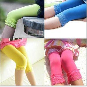 kids baby girls velvet candy color leggings summer girls lace leggings children Cropped Pants free shipping in stock