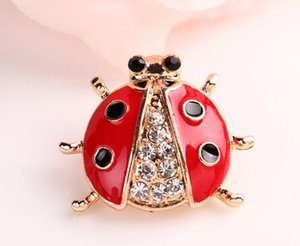 New Fashion Jewelry Accessories Brooch Animal Brooches Rhinestone Red Ladybug Brooch For Women Girl Jewelry