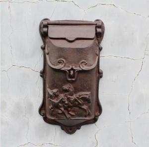 Rústico pequeño Hierro fundido Buzón Buzón Cartas de metal Buzón de correos Buzón de correo en casa Jardín del patio Patio Patio Decoración Caballos Marrones