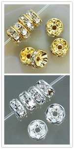 500pcs / lot weiß 8mm Gold-Silber überzogenes Korn Kristall Spacer Rondelle Spacer für Armband hotsale DIY Entdeckungen Schmuck