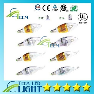 Epacket عكس الضوء 9W كري LED شمعة لمبة E14 E12 E27 ضوء مصباح أدى ارتفاع الطاقة النازل مصابيح الثريا الإضاءة 110-240V CE بنفايات