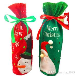 2016 Hot s 2 estilos Navidad Decoración interior Navidad Regalo lindo Dibujos animados Santa Claus Muñeco de nieve Vino manga de la botella (12pcs / lot)