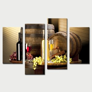 4 Piece Wall Art Painting Red Grapes Wine Barrel And Prints On Canvas The Picture Decor Wall Art For Home Modern Decoration Unframed