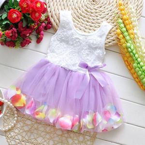 Babykleidung Prinzessin Mädchen Blumenkleid 3D Rose Blume Baby Mädchen Tutu Kleid mit bunten Blütenblatt Spitzenkleid Bubble Skirt Babykleidung