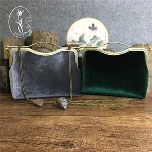 최고 품질의 파티 핸드백 벨벳 그레이, 짙은 녹색 멋진 결혼식 신부의 핸드백 2017 새로운 도착 가을 겨울