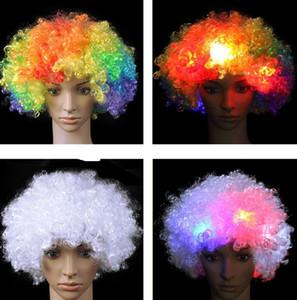 BLUE Flashing LED Curly Aftro HALLOWEEN Costume Wig FUN~