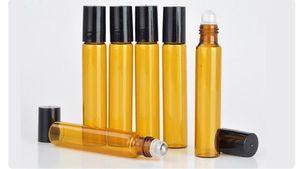 زجاجات العطور الساخنة إعادة الملء العنبر 10ML لفة على العطر العطور الزجاج زجاجة زجاجات الضروري النفط OIL زجاجة الصلب الرول الكرة b702