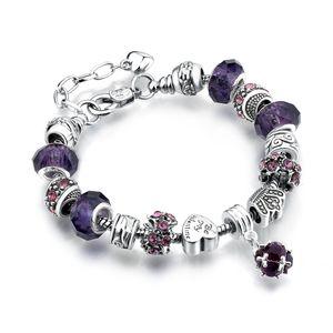 Tibetischen Silber Feine Pandora Perlen Strands Armband Große Glas Kristall Charms Perlen DIY Armband 13 Farben Optional Fabrik Großhandel