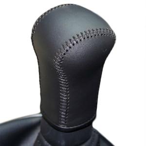 Caso para nissan qashiqai 5 mt manual de mudança de marcha tampa do knob mão-costurado couro genuíno diy engrenagem cobre acessórios de couro