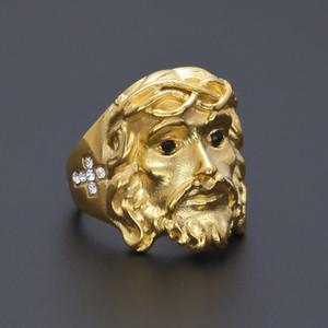24 K chapado en oro CZ 3D Christ Cross Jesus Piece Ring para hombre Moda Chunky Finger Bling Hip Hop anillo Tamaño 8-11