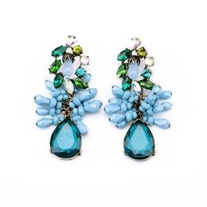 Orecchini di pietre preziose Orecchini pendenti lunghi Forma di goccia d'acqua blu Orecchini di goccia di cristallo blu per gioielli da donna Regalo di Natale