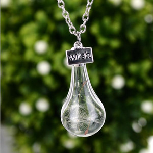 Wish Necklace Necklaces Drift Bottle Real Dandelion Crystal Pendants Silver Chain Necklaces For Women Girl Fashion Jewelry Wholesale 0639WH