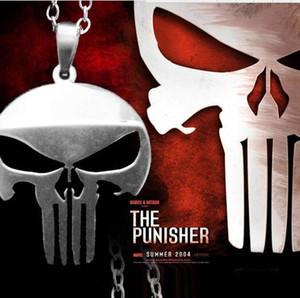 O Punisher Colar Crânio Esqueleto Crânio Pingente de Super Herói Especial Do Partido Do Crânio Declaração de Jóias Do Punk COM CORRENTE DHL presente de Natal