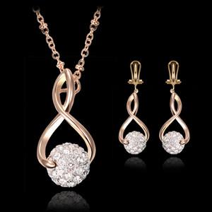 قلادة أقراط مجموعة مجوهرات أزياء المرأة رائعة حجر الراين كرات 18K مطلية بالذهب حزب المجوهرات 2-قطعة مجموعة الجملة JS099