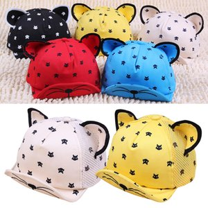Prettybaby дети мультфильм кошки печати шапки 10 стилей детские карнизы cap hat с ушами дети бейсболки Pt0364# mi
