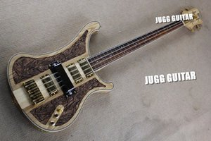 Rickenbastard 4004 LK Леой Limited Edition Натурального орех ручной резьбы RARE Pickup Electric Bass Guitar Cover Version 4 Пикапов