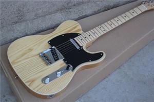 На заказ магазин теле ТЛ выбраться из натуральных электрический гитарной струны через тело, черное тело переплет 3 слоя черный PickguardUSA пользовательские магазин Лим