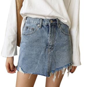 Jeans Verão saia Mulheres cintura alta Jupe Irregular Bordas Denim Saias Feminino Mini Saia Lavados Faldas Casual Pencil Skirt