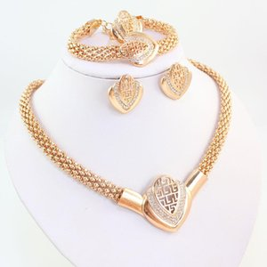 Necklace Jewellery Fashion Beads Ring Women African Gold Crystal Dubai Jewelry Earring Bracelet Plated Costume Tfikr