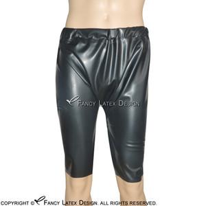 Siyah Seksi Lateks Uzun Bacak Boxer Şort Külot ile Elastik Bant Fetiş Lastik Pantolon Külot Bottoms Şort DK-0085