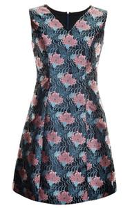 Vintage Flower Print Women Sheath Dress V-Neck Sleeveless Party Dreses 084A693